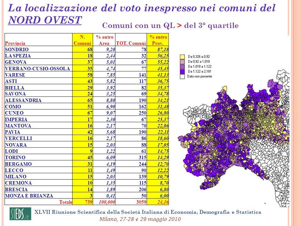 La localizzazione del voto inespresso nei comuni del NORD OVEST