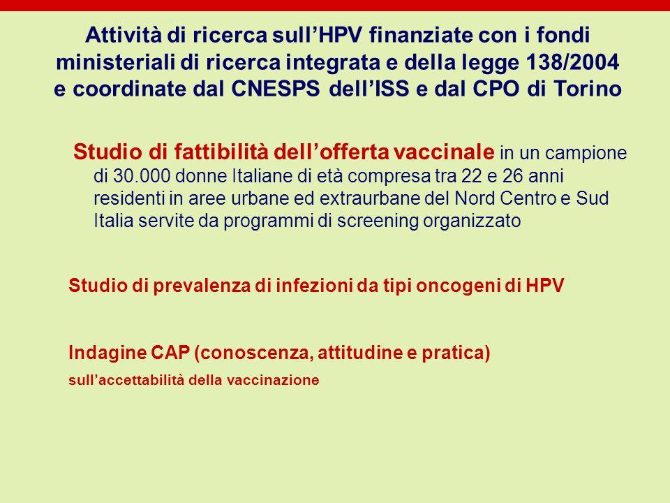 Attività di ricerca sull'HPV finanziate con i fondi ministeriali di ricerca integrata e della legge 138/2004 e coordinate dal CNESPS dell'ISS e dal CPO di Torino