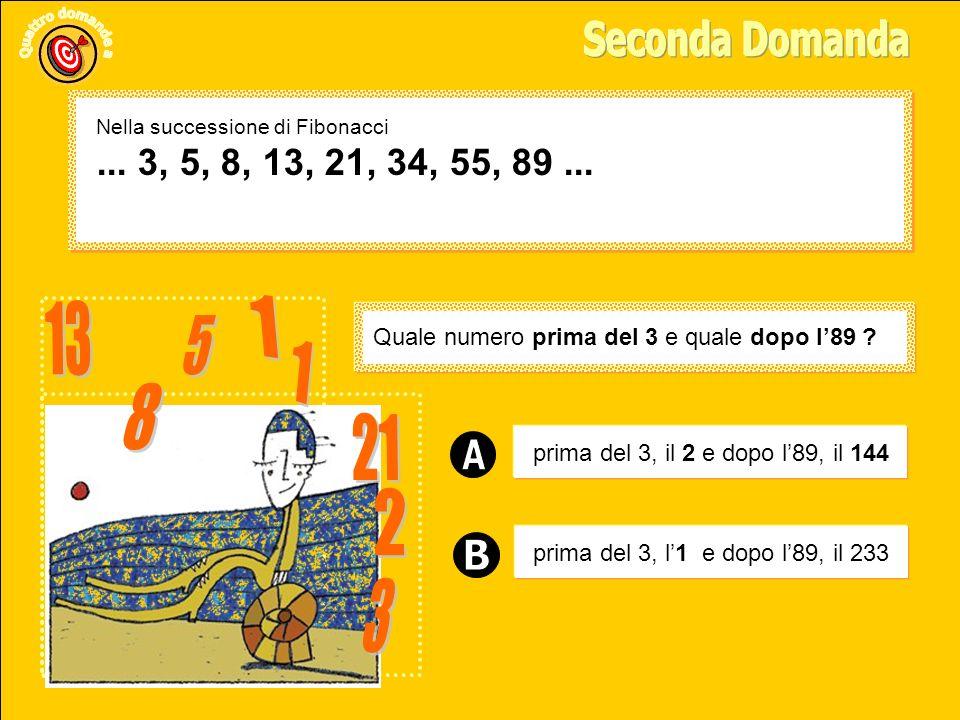 Seconda Domanda Nella successione di Fibonacci. ... 3, 5, 8, 13, 21, 34, 55, 89 ... 13. 1. 5. Quale numero prima del 3 e quale dopo l'89