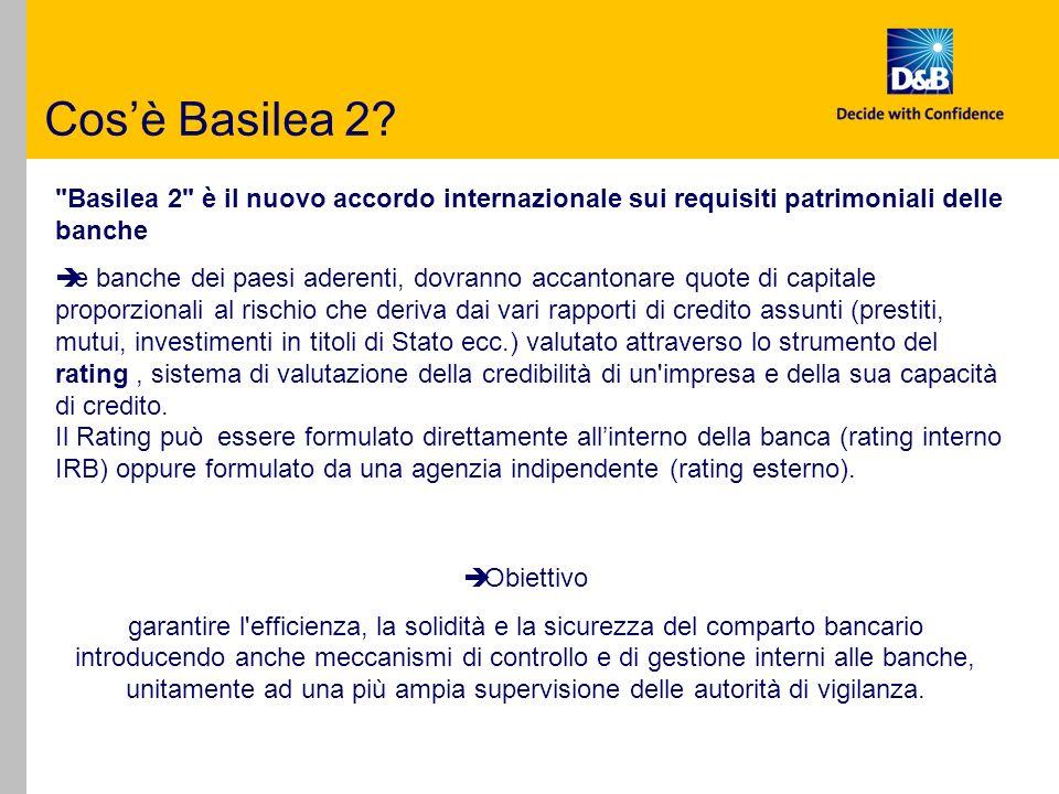 Cos'è Basilea 2 Basilea 2 è il nuovo accordo internazionale sui requisiti patrimoniali delle banche.