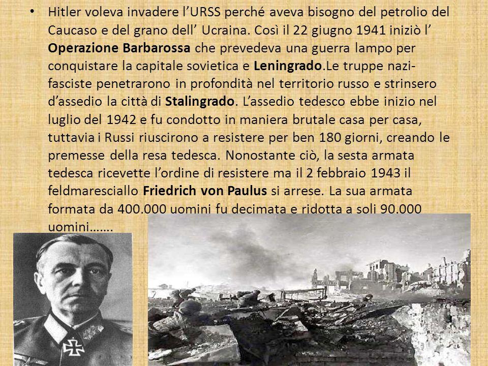 Hitler voleva invadere l'URSS perché aveva bisogno del petrolio del Caucaso e del grano dell' Ucraina.