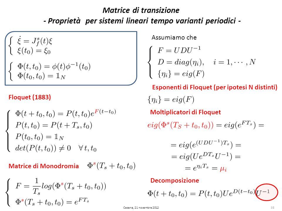Matrice di transizione - Proprietà per sistemi lineari tempo varianti periodici -