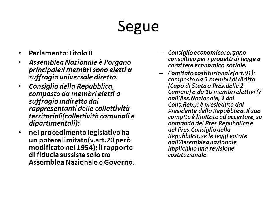 Segue Parlamento:Titolo II