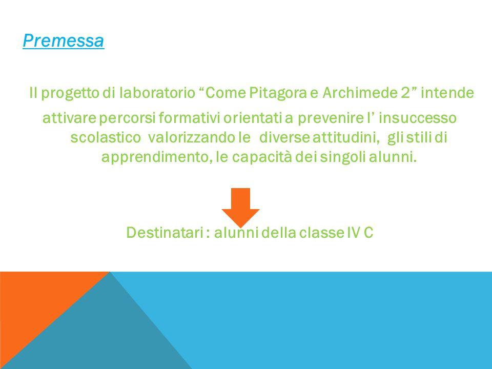 PremessaIl progetto di laboratorio Come Pitagora e Archimede 2 intende.