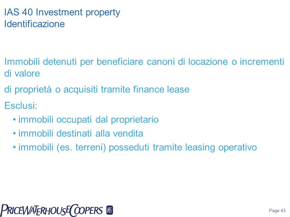 IAS 40 Investment property Identificazione