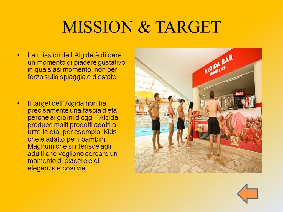 MISSION & TARGET La mission dell' Algida è di dare un momento di piacere gustativo in qualsiasi momento, non per forza sulla spiaggia e d'estate.