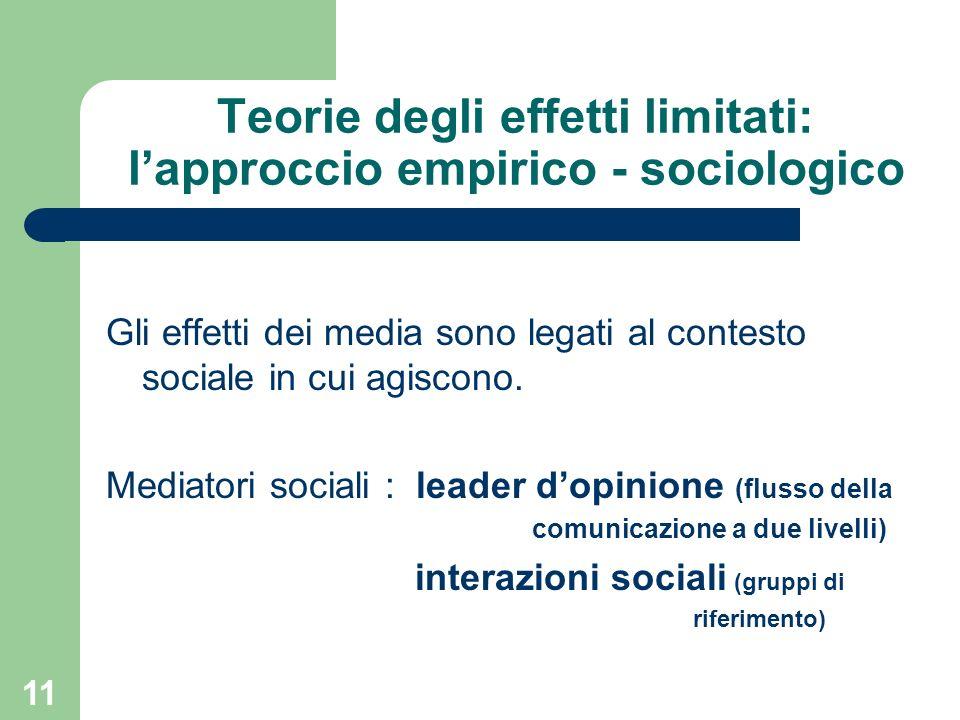 Teorie degli effetti limitati: l'approccio empirico - sociologico