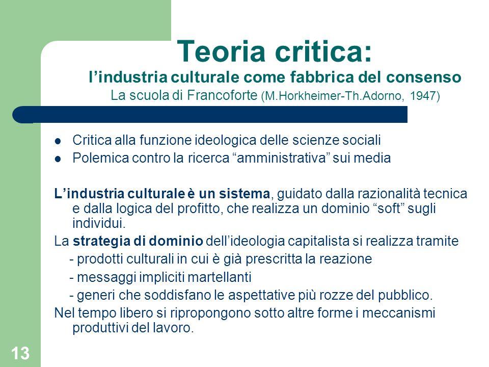 Teoria critica: l'industria culturale come fabbrica del consenso La scuola di Francoforte (M.Horkheimer-Th.Adorno, 1947)