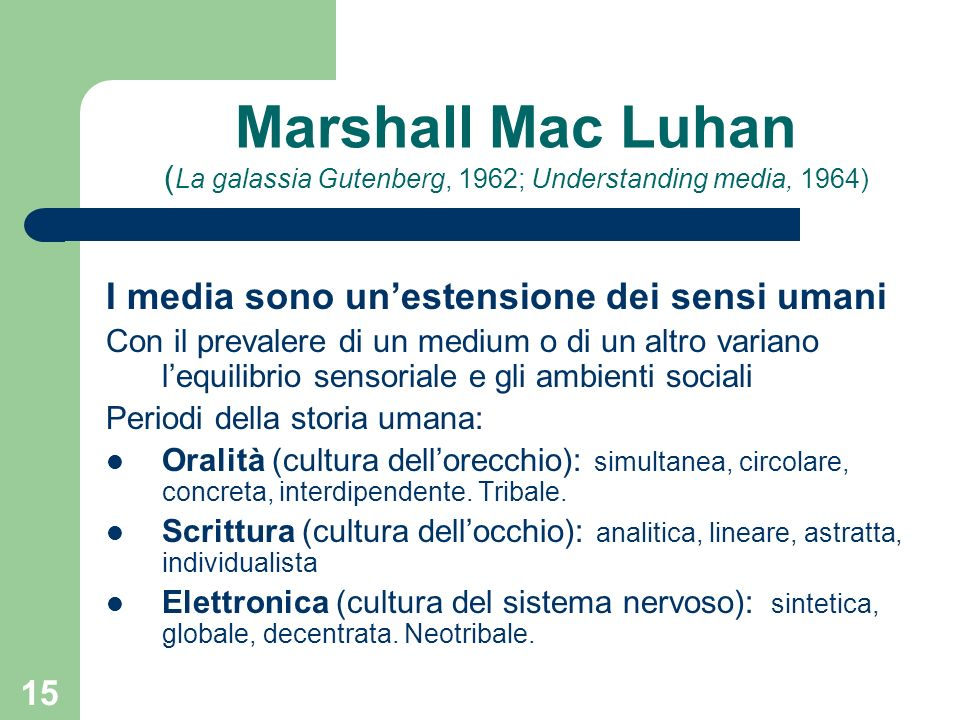 Marshall Mac Luhan (La galassia Gutenberg, 1962; Understanding media, 1964)