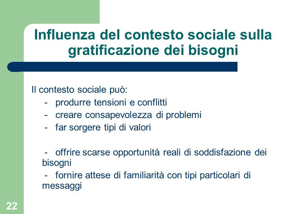 Influenza del contesto sociale sulla gratificazione dei bisogni