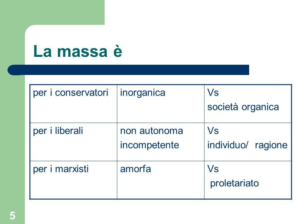 La massa è per i conservatori inorganica Vs società organica
