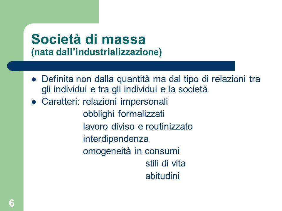 Società di massa (nata dall'industrializzazione)