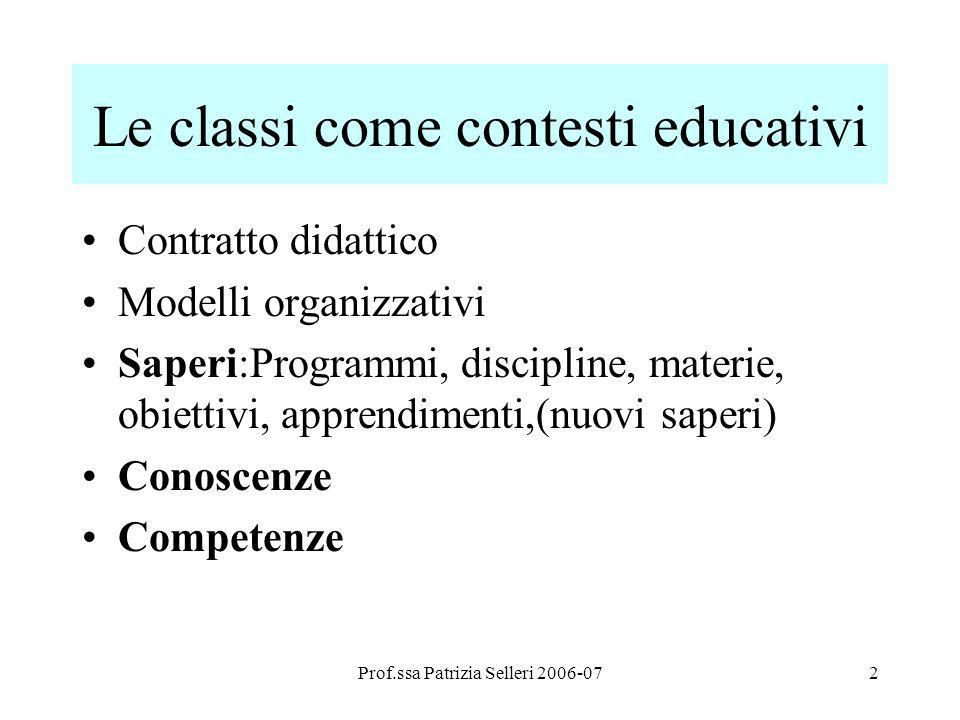 Le classi come contesti educativi