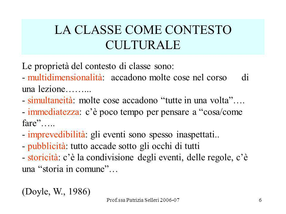 LA CLASSE COME CONTESTO CULTURALE