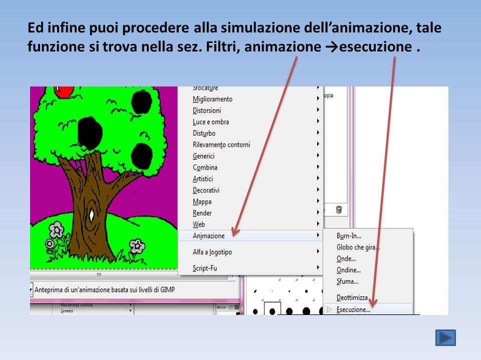 Ed infine puoi procedere alla simulazione dell'animazione, tale funzione si trova nella sez.