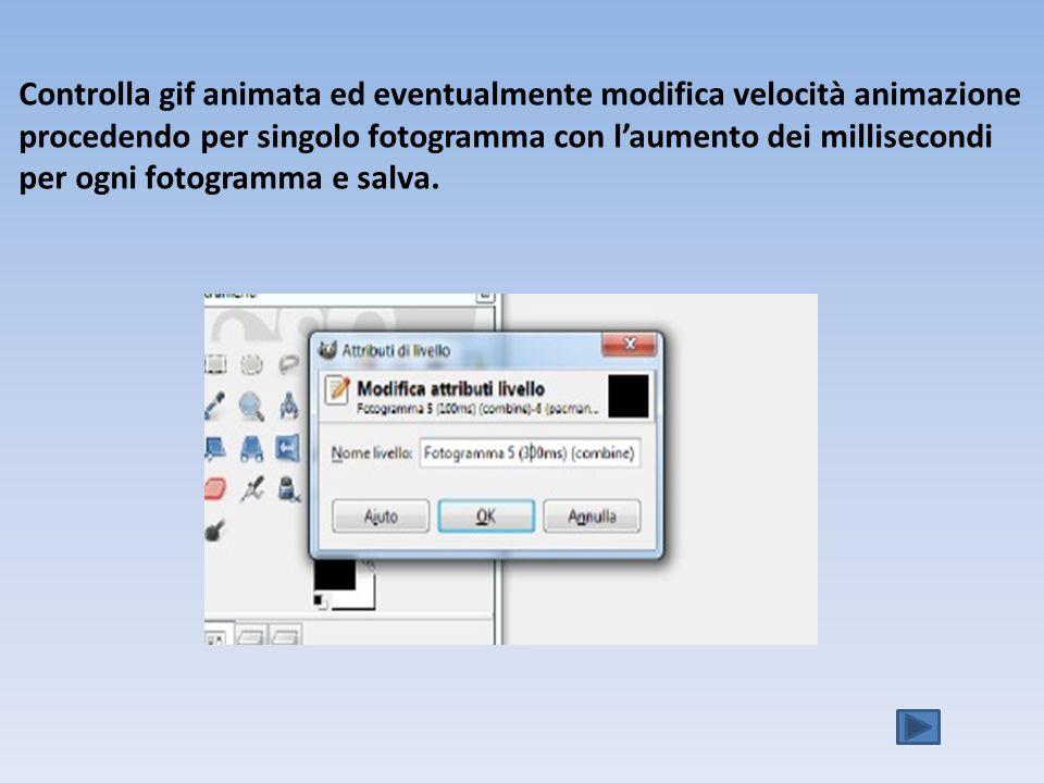 Controlla gif animata ed eventualmente modifica velocità animazione procedendo per singolo fotogramma con l'aumento dei millisecondi per ogni fotogramma e salva.