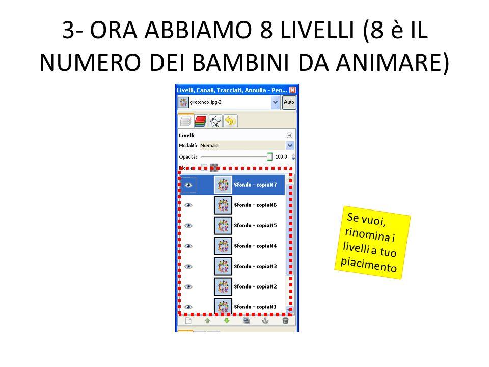 3- ORA ABBIAMO 8 LIVELLI (8 è IL NUMERO DEI BAMBINI DA ANIMARE)