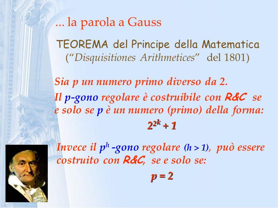 ... la parola a Gauss TEOREMA del Principe della Matematica ( Disquisitiones Arithmetices del 1801)