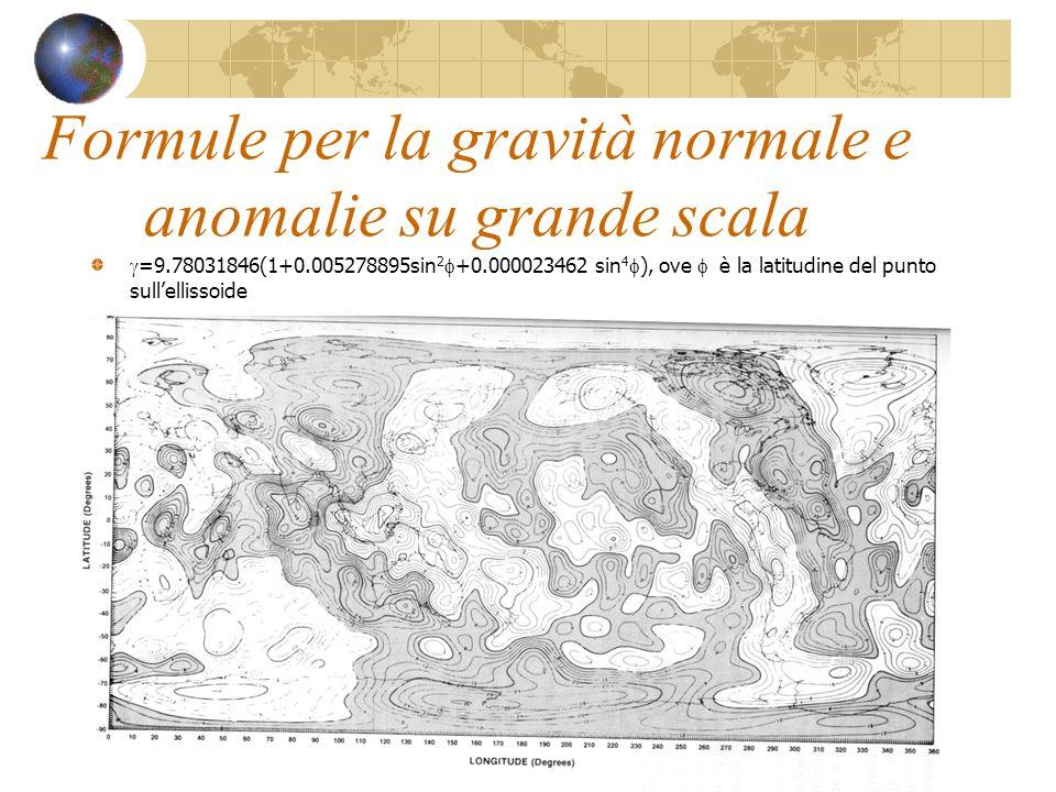 Formule per la gravità normale e anomalie su grande scala