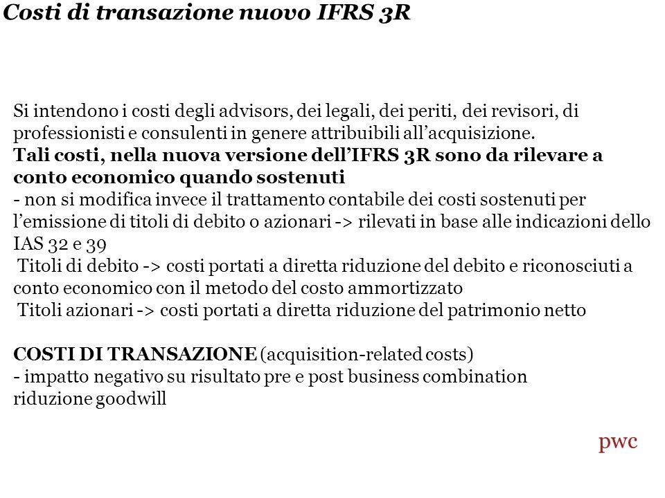 Costi di transazione nuovo IFRS 3R