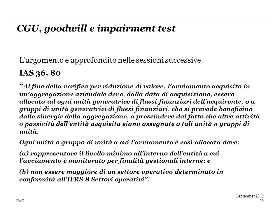 CGU, goodwill e impairment test
