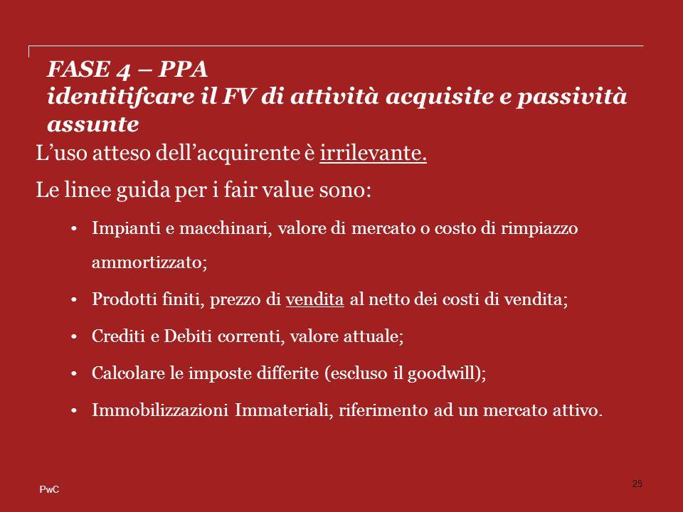 FASE 4 – PPA identitifcare il FV di attività acquisite e passività assunte