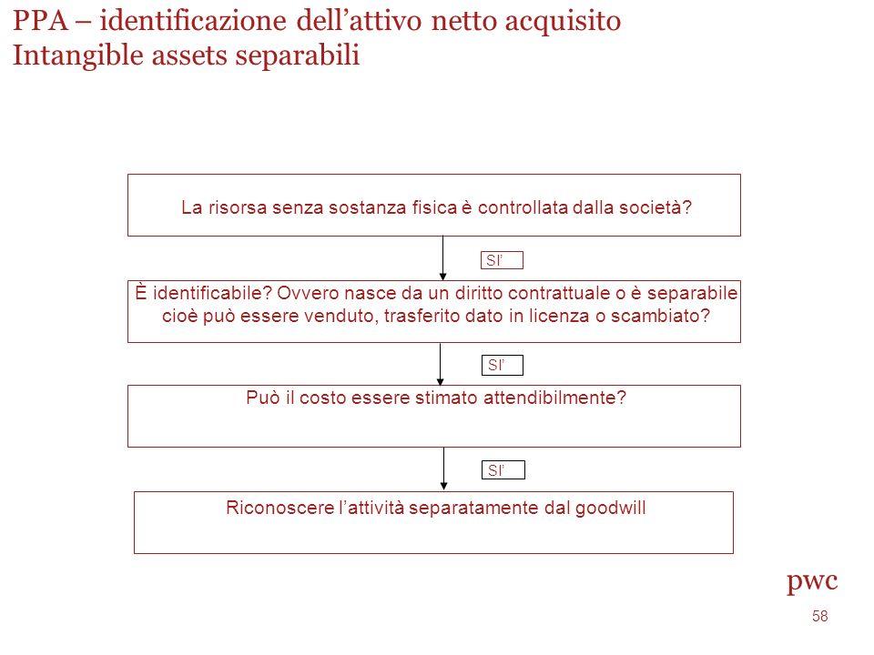 PPA – identificazione dell'attivo netto acquisito Intangible assets separabili