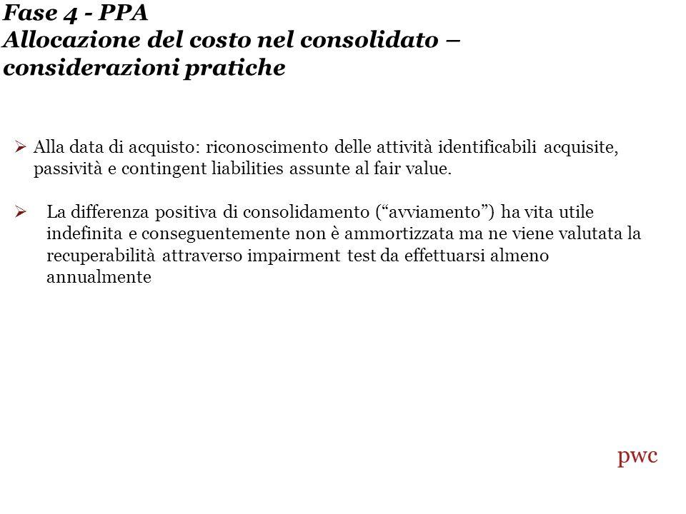 Fase 4 - PPA Allocazione del costo nel consolidato – considerazioni pratiche