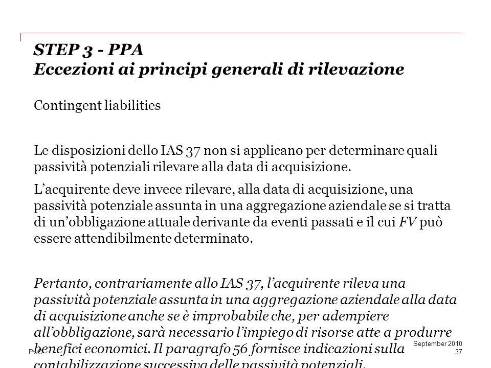 STEP 3 - PPA Eccezioni ai principi generali di rilevazione