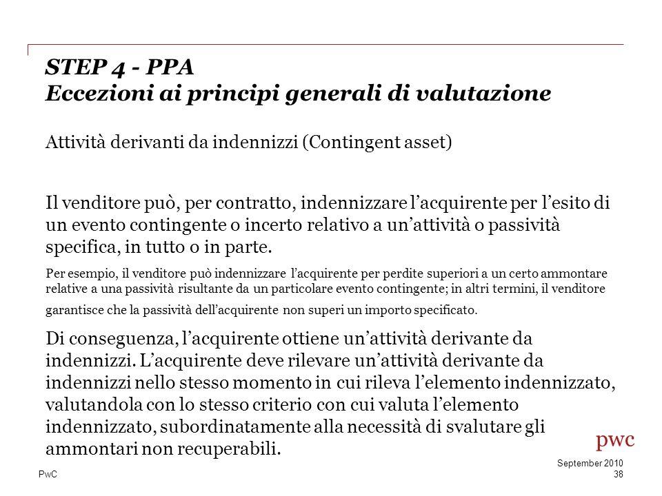 STEP 4 - PPA Eccezioni ai principi generali di valutazione