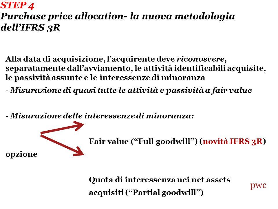 STEP 4 Purchase price allocation- la nuova metodologia dell'IFRS 3R
