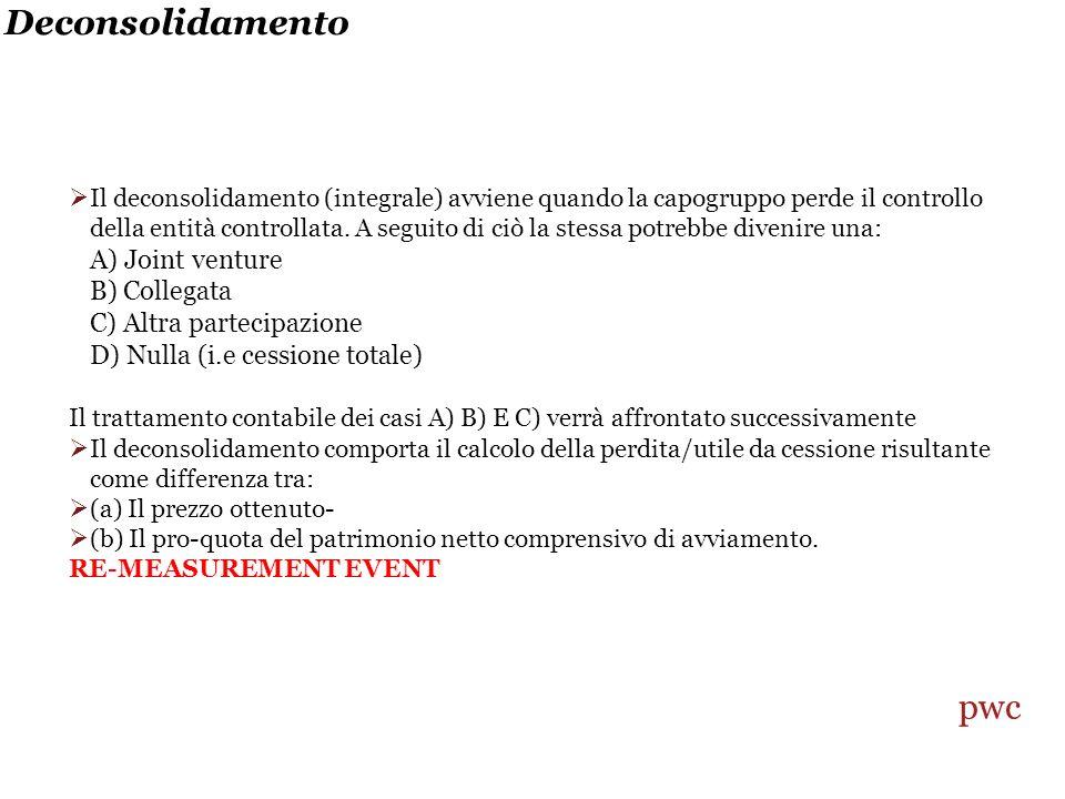 Deconsolidamento pwc A) Joint venture B) Collegata