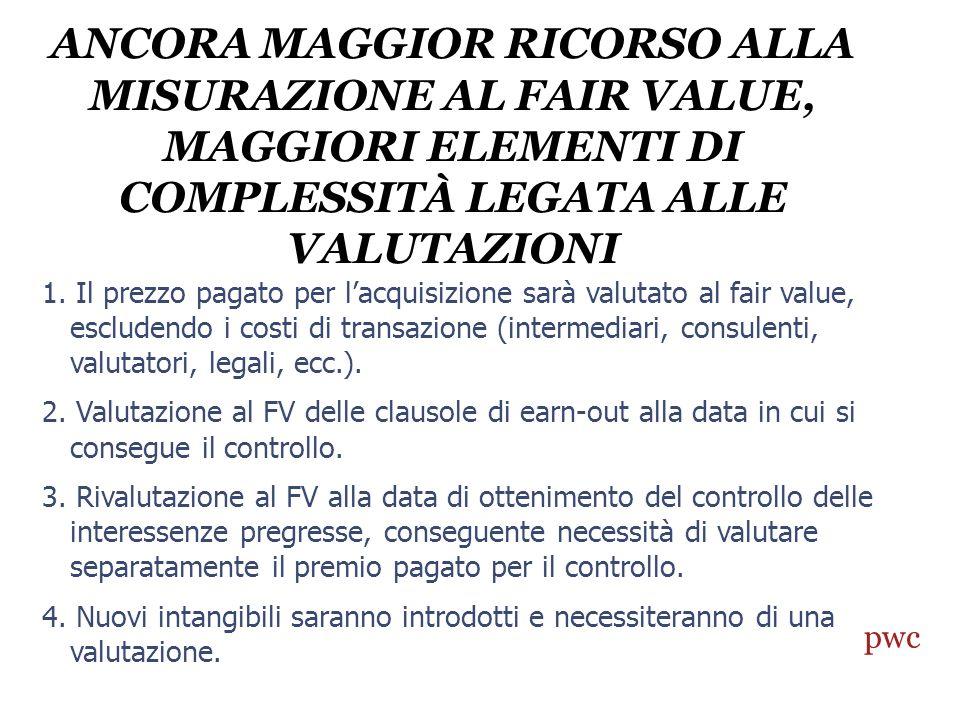 ANCORA MAGGIOR RICORSO ALLA MISURAZIONE AL FAIR VALUE, MAGGIORI ELEMENTI DI COMPLESSITÀ LEGATA ALLE VALUTAZIONI