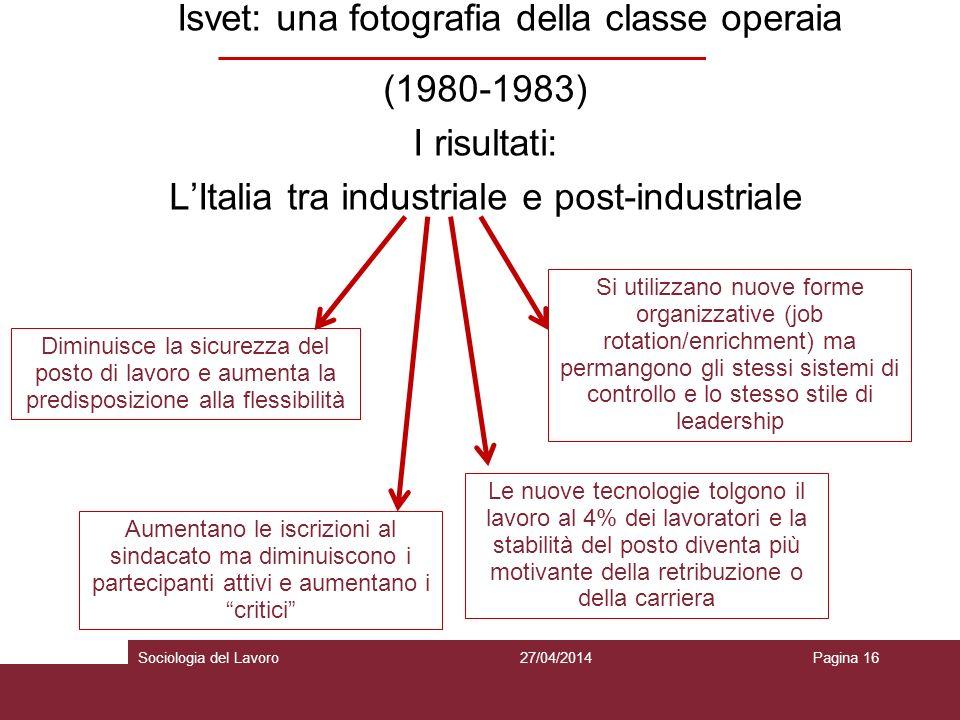 Isvet: una fotografia della classe operaia (1980-1983) I risultati: L'Italia tra industriale e post-industriale