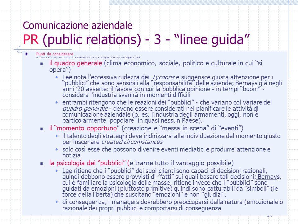 Comunicazione aziendale PR (public relations) - 3 - linee guida