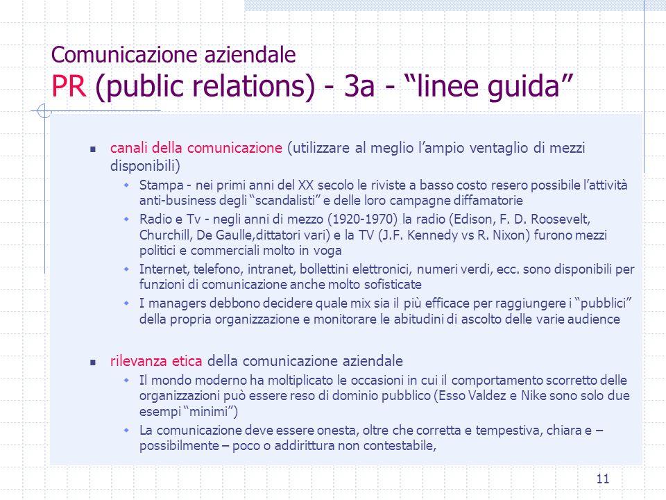 Comunicazione aziendale PR (public relations) - 3a - linee guida