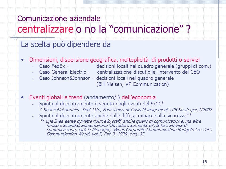 Comunicazione aziendale centralizzare o no la comunicazione
