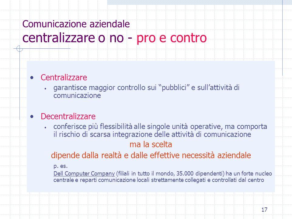 Comunicazione aziendale centralizzare o no - pro e contro