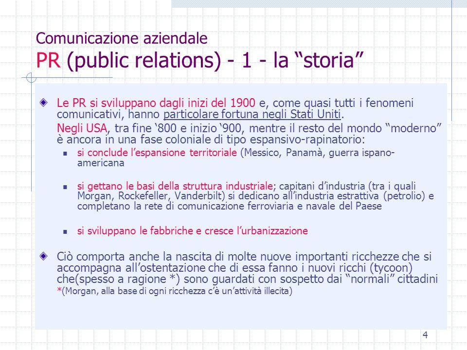 Comunicazione aziendale PR (public relations) - 1 - la storia
