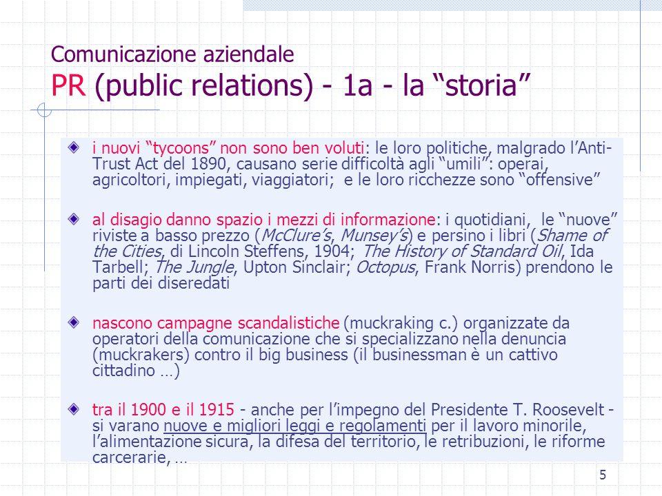 Comunicazione aziendale PR (public relations) - 1a - la storia