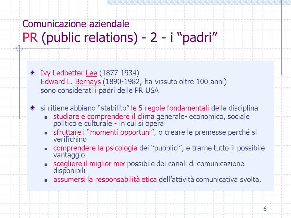 Comunicazione aziendale PR (public relations) - 2 - i padri