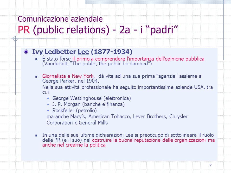 Comunicazione aziendale PR (public relations) - 2a - i padri