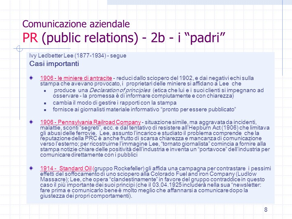 Comunicazione aziendale PR (public relations) - 2b - i padri
