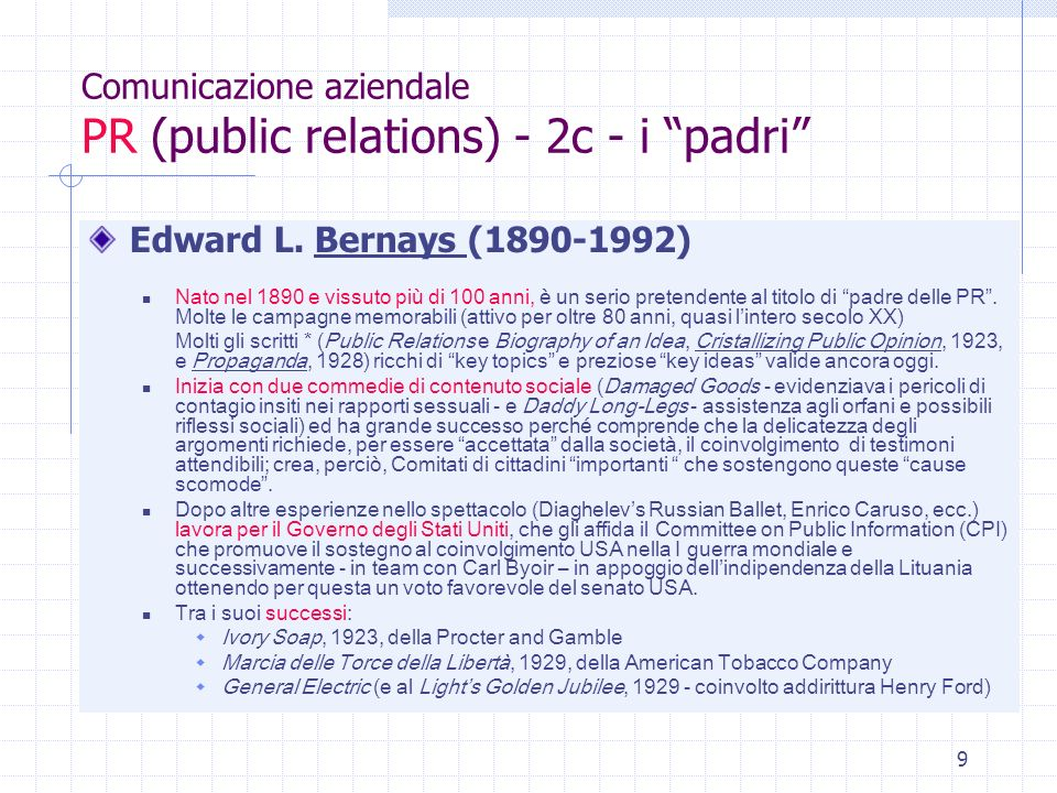 Comunicazione aziendale PR (public relations) - 2c - i padri