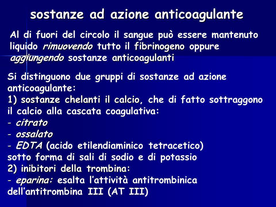 sostanze ad azione anticoagulante
