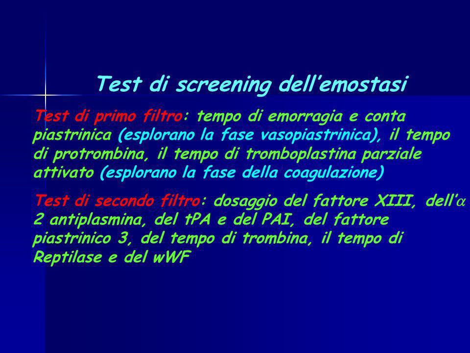 Test di screening dell'emostasi