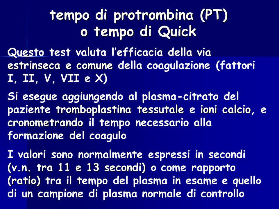 tempo di protrombina (PT) o tempo di Quick
