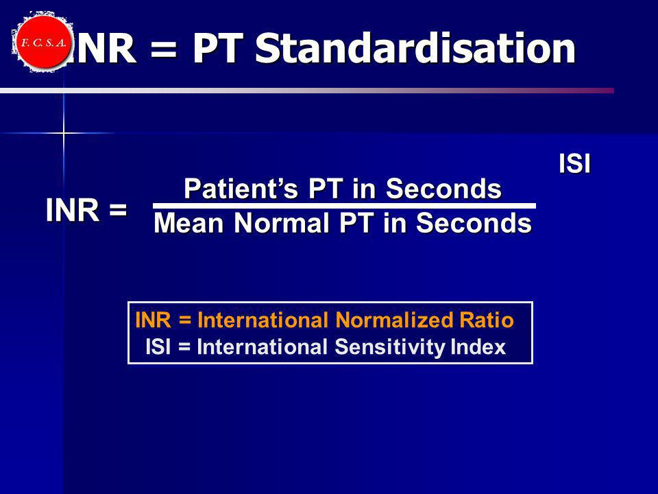 INR = PT Standardisation
