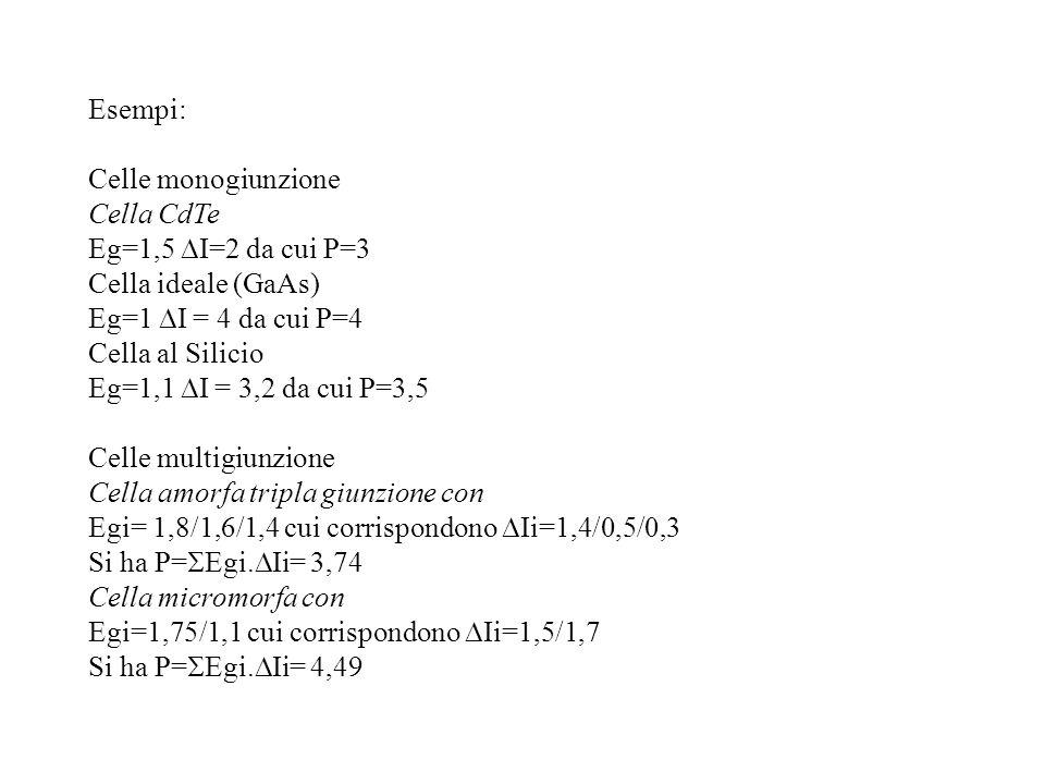 Esempi: Celle monogiunzione. Cella CdTe. Eg=1,5 DI=2 da cui P=3. Cella ideale (GaAs) Eg=1 DI = 4 da cui P=4.
