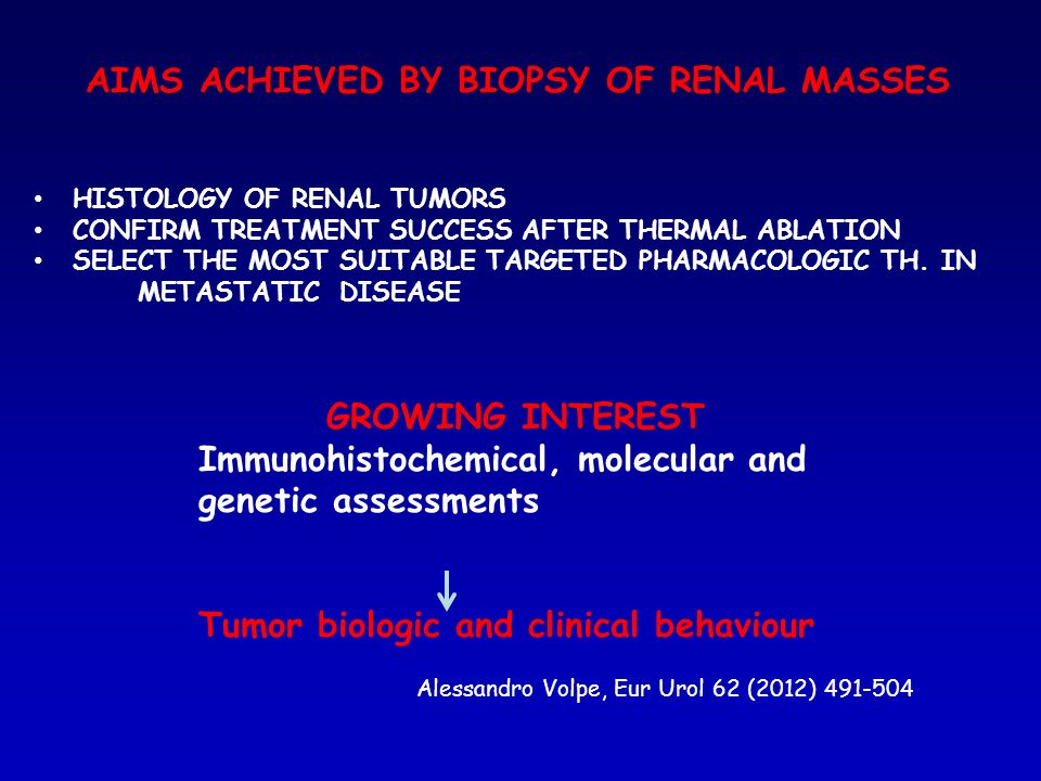 AIMS ACHIEVED BY BIOPSY OF RENAL MASSES